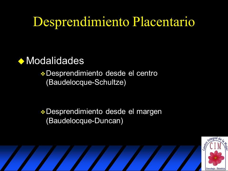 Desprendimiento Placentario u Modalidades v Desprendimiento desde el centro (Baudelocque-Schultze) v Desprendimiento desde el margen (Baudelocque-Duncan)