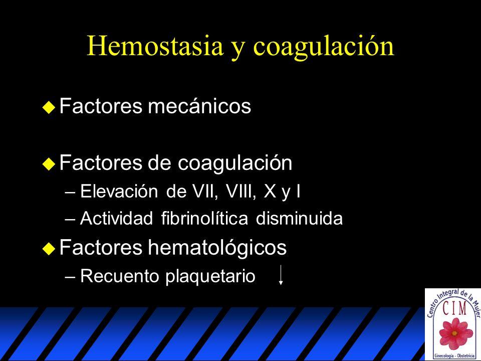 Hemostasia y coagulación u Factores mecánicos u Factores de coagulación –Elevación de VII, VIII, X y I –Actividad fibrinolítica disminuida u Factores hematológicos –Recuento plaquetario
