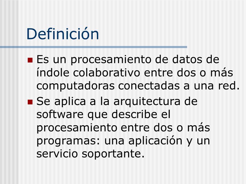 Definición Es un procesamiento de datos de índole colaborativo entre dos o más computadoras conectadas a una red. Se aplica a la arquitectura de softw