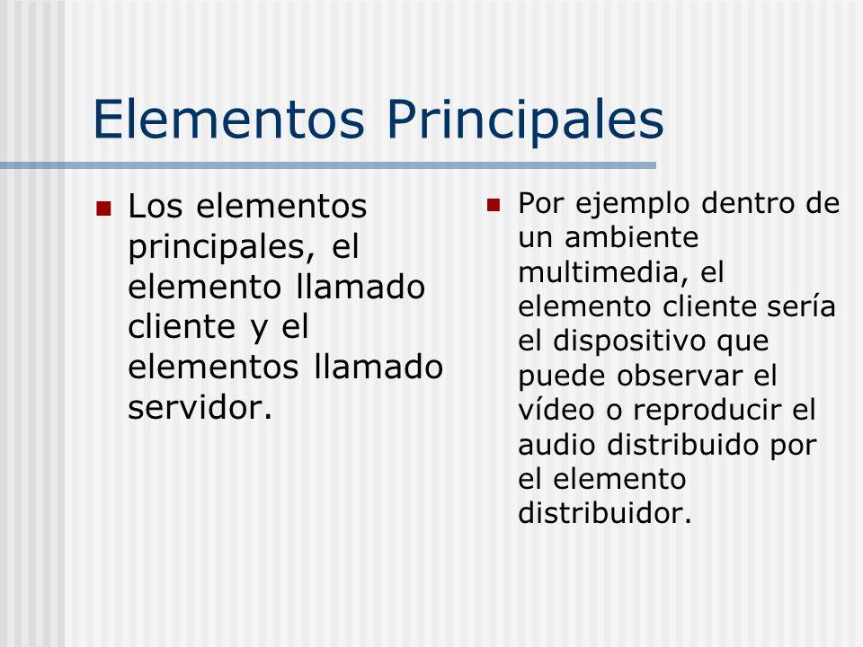 Elementos Principales Los elementos principales, el elemento llamado cliente y el elementos llamado servidor. Por ejemplo dentro de un ambiente multim