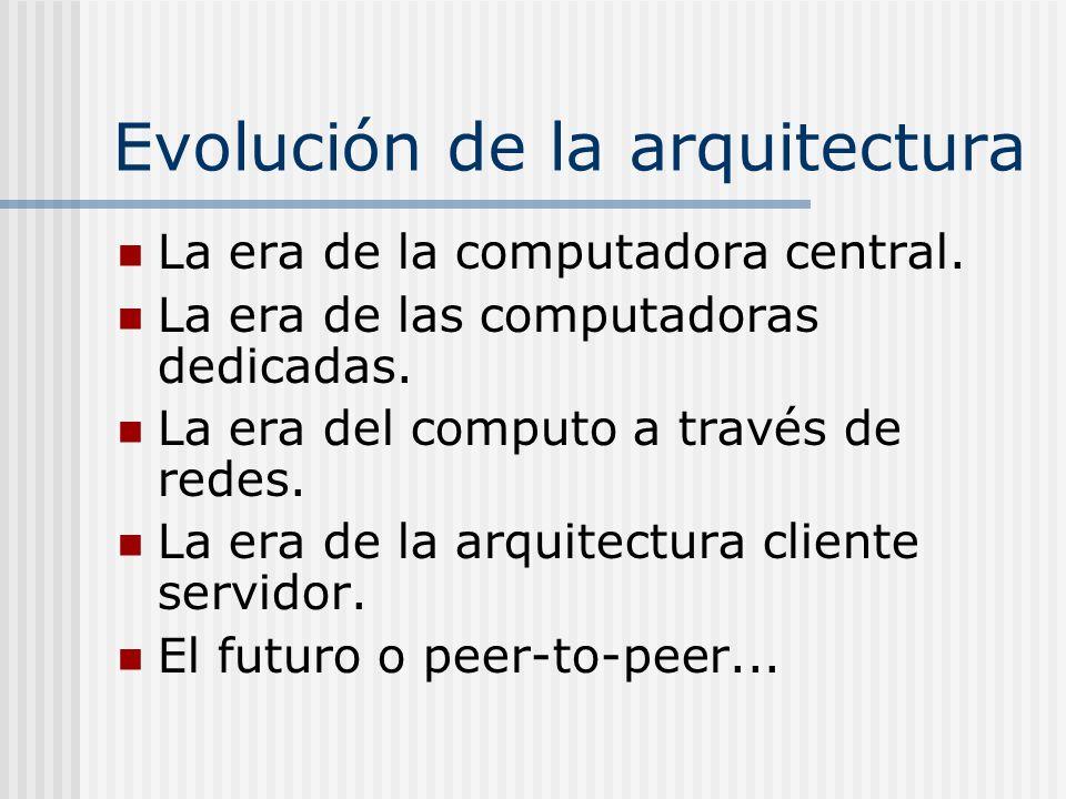 Evolución de la arquitectura La era de la computadora central. La era de las computadoras dedicadas. La era del computo a través de redes. La era de l