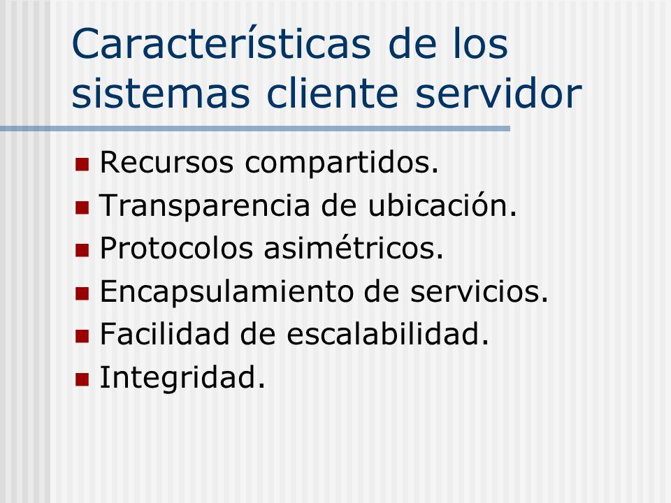 Características de los sistemas cliente servidor Recursos compartidos. Transparencia de ubicación. Protocolos asimétricos. Encapsulamiento de servicio