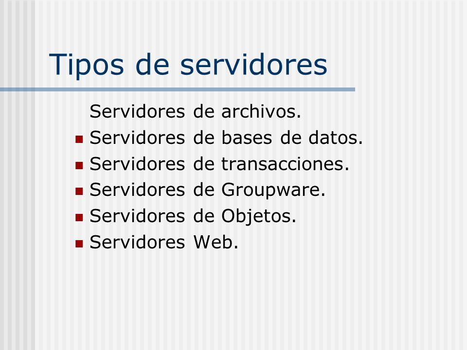 Tipos de servidores Servidores de archivos. Servidores de bases de datos. Servidores de transacciones. Servidores de Groupware. Servidores de Objetos.