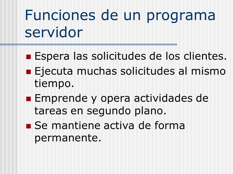 Funciones de un programa servidor Espera las solicitudes de los clientes. Ejecuta muchas solicitudes al mismo tiempo. Emprende y opera actividades de