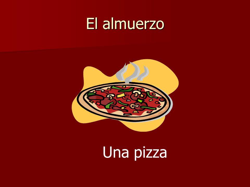 El almuerzo Una pizza