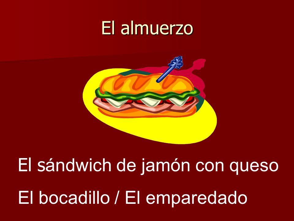 El almuerzo El s ándwich de jamón con queso El bocadillo / El emparedado