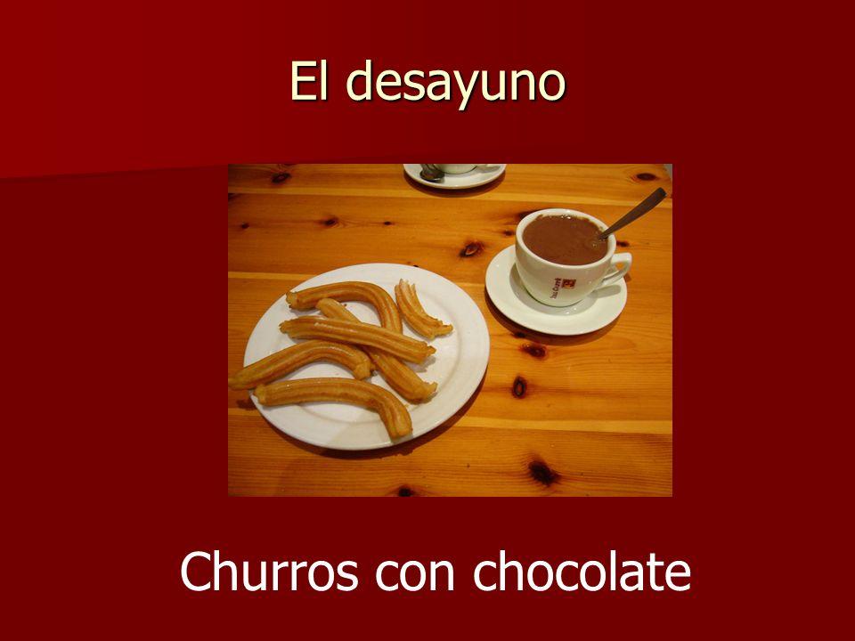 El desayuno Churros con chocolate