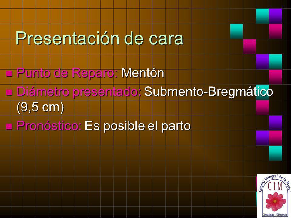 Presentación de cara n Punto de Reparo: Mentón n Diámetro presentado: Submento-Bregmático (9,5 cm) n Pronóstico: Es posible el parto