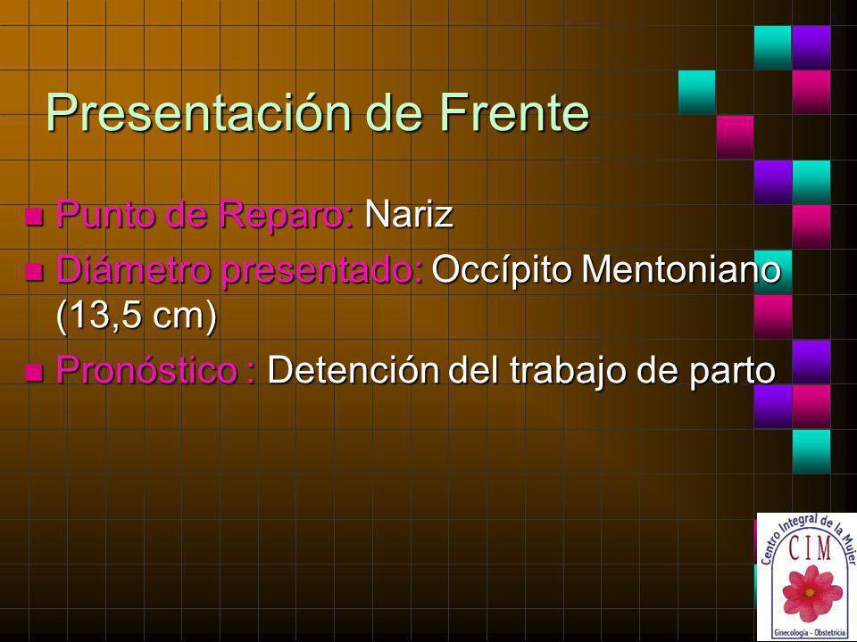 Presentación de Frente n Punto de Reparo: Nariz n Diámetro presentado: Occípito Mentoniano (13,5 cm) n Pronóstico : Detención del trabajo de parto
