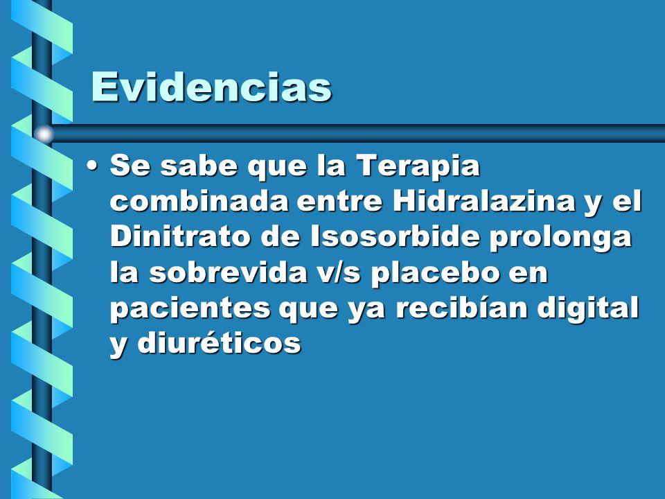 Evidencias Se sabe que la Terapia combinada entre Hidralazina y el Dinitrato de Isosorbide prolonga la sobrevida v/s placebo en pacientes que ya recib