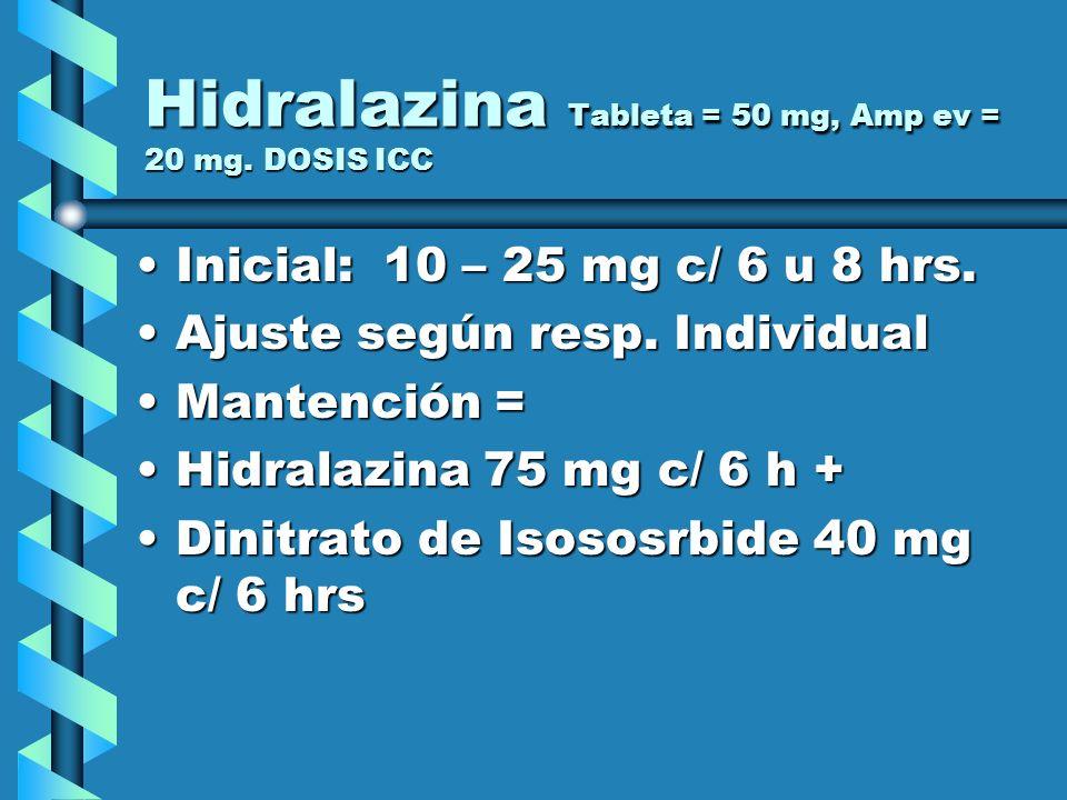 Hidralazina Tableta = 50 mg, Amp ev = 20 mg. DOSIS ICC Inicial: 10 – 25 mg c/ 6 u 8 hrs.Inicial: 10 – 25 mg c/ 6 u 8 hrs. Ajuste según resp. Individua