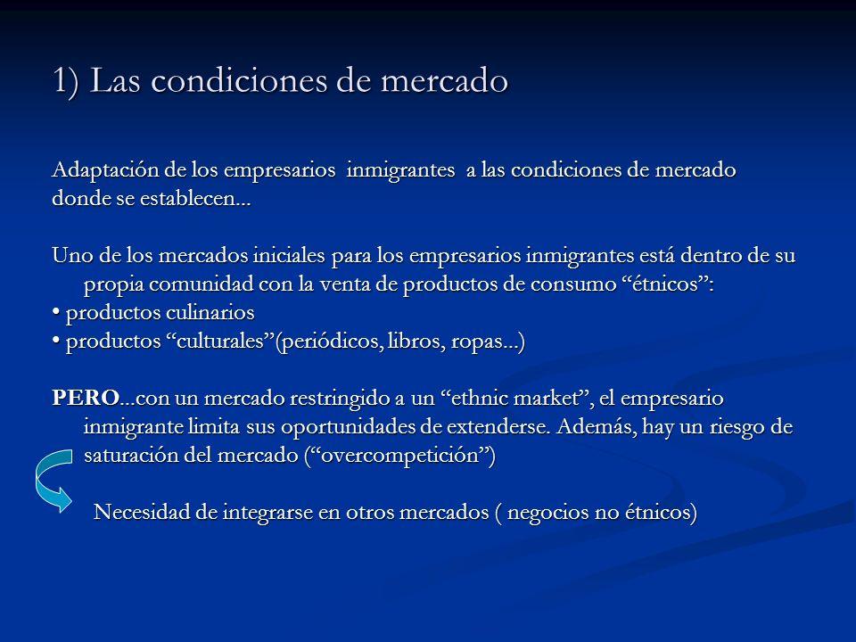 1) Las condiciones de mercado Adaptación de los empresarios inmigrantes a las condiciones de mercado donde se establecen... Uno de los mercados inicia
