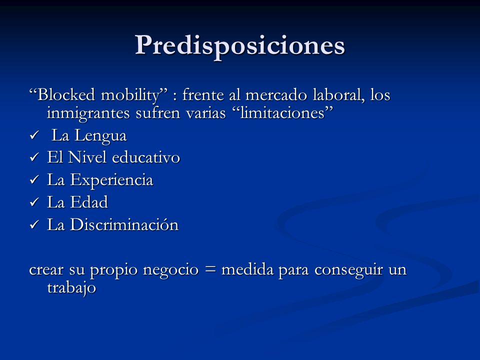 Predisposiciones Blocked mobility : frente al mercado laboral, los inmigrantes sufren varias limitaciones La Lengua La Lengua El Nivel educativo El Ni