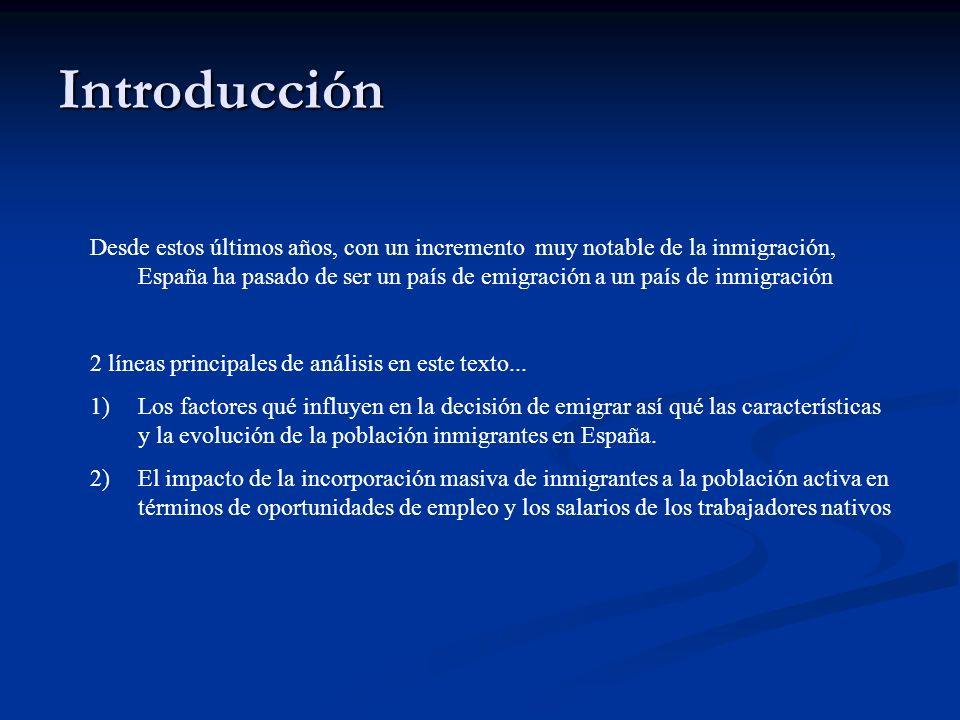 Introducción Desde estos últimos años, con un incremento muy notable de la inmigración, España ha pasado de ser un país de emigración a un país de inm