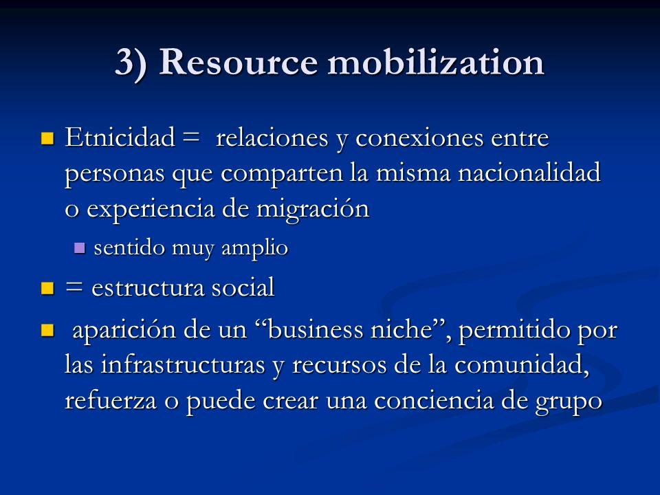 3) Resource mobilization Etnicidad = relaciones y conexiones entre personas que comparten la misma nacionalidad o experiencia de migración Etnicidad =
