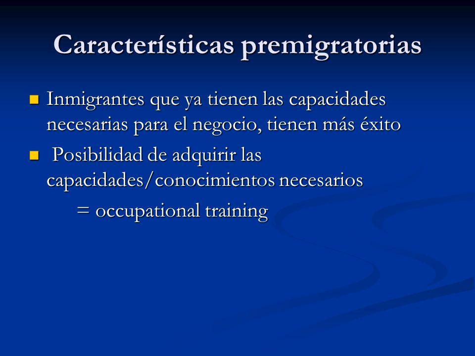 Características premigratorias Inmigrantes que ya tienen las capacidades necesarias para el negocio, tienen más éxito Inmigrantes que ya tienen las ca