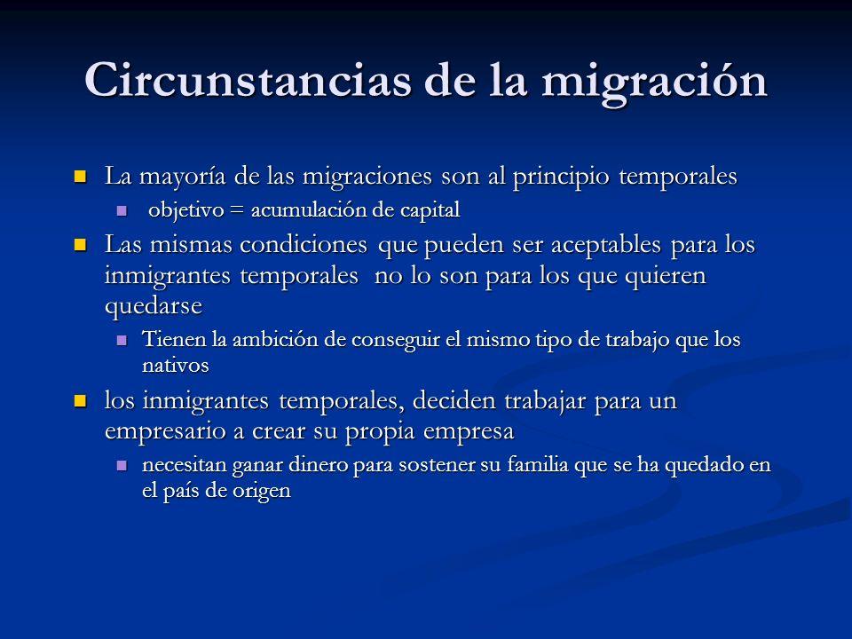 Circunstancias de la migración La mayoría de las migraciones son al principio temporales La mayoría de las migraciones son al principio temporales obj
