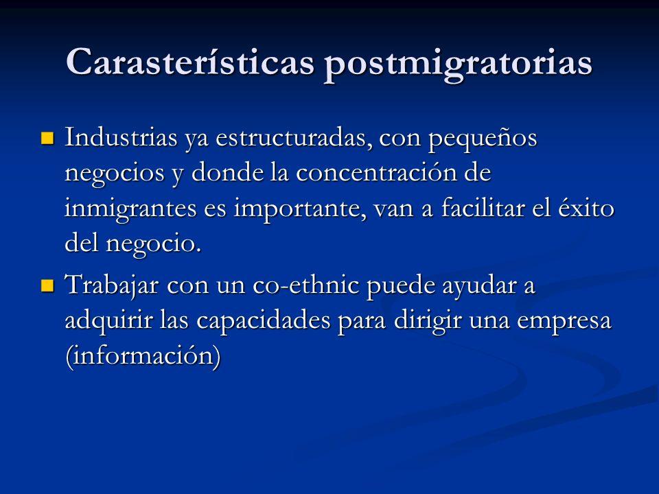 Carasterísticas postmigratorias Industrias ya estructuradas, con pequeños negocios y donde la concentración de inmigrantes es importante, van a facili