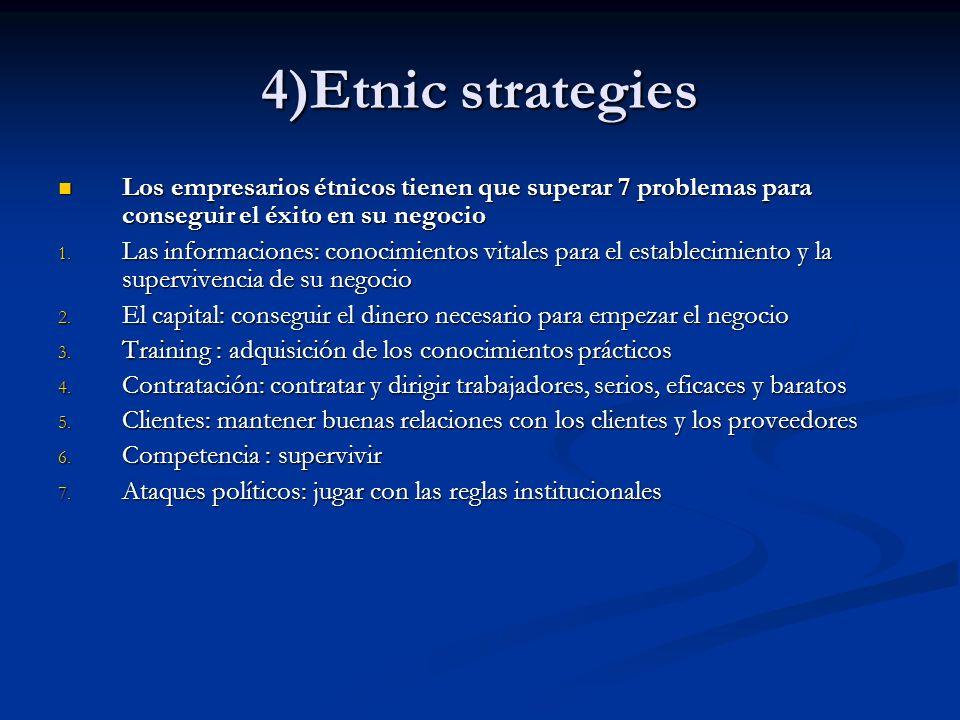4)Etnic strategies Los empresarios étnicos tienen que superar 7 problemas para conseguir el éxito en su negocio Los empresarios étnicos tienen que sup