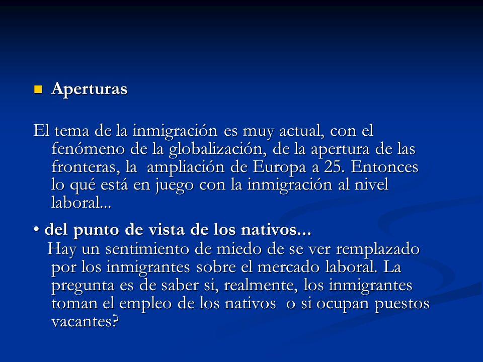 Aperturas Aperturas El tema de la inmigración es muy actual, con el fenómeno de la globalización, de la apertura de las fronteras, la ampliación de Eu