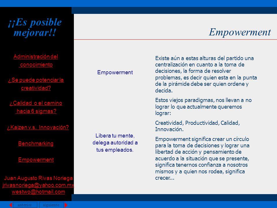 anterior siguiente Empowerment Administración del conocimiento ¿Se puede potenciar la creatividad? ¿Calidad o el camino hacia 6 sigmas? ¿Kaizen v.s. I