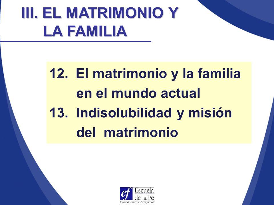 La doctrina de la Familiaris consortio sobre la misión de la familia, podemos dividirla en cinco bloques: La formación de una comunidad de personas El servicio a la vida La educación La participación en la sociedad La participación en la Iglesia