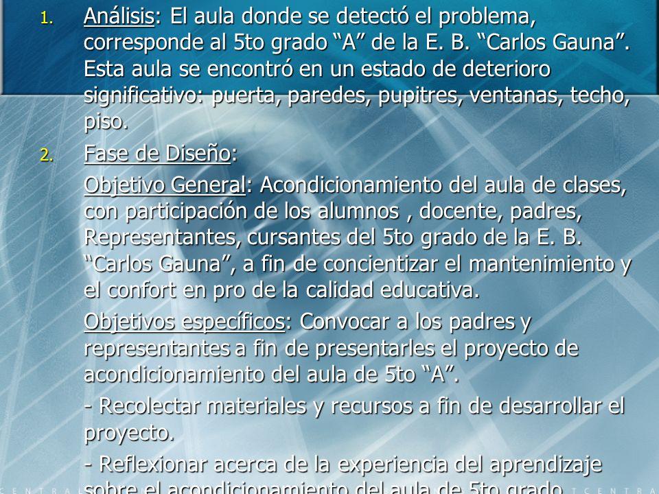 1. Análisis: El aula donde se detectó el problema, corresponde al 5to grado A de la E. B. Carlos Gauna. Esta aula se encontró en un estado de deterior