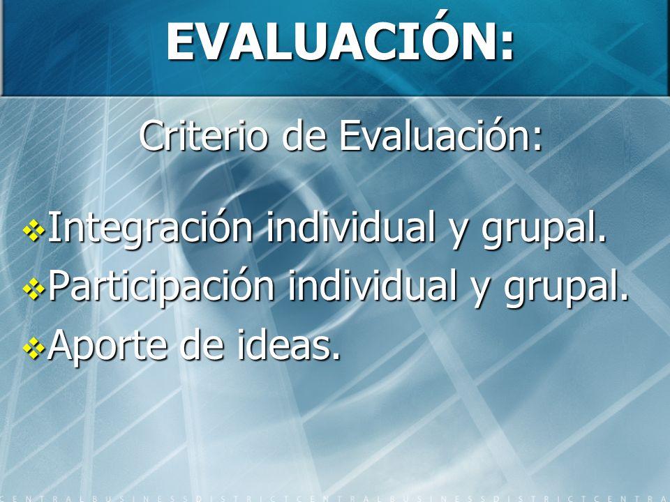 EVALUACIÓN: Criterio de Evaluación: Integración individual y grupal. Integración individual y grupal. Participación individual y grupal. Participación