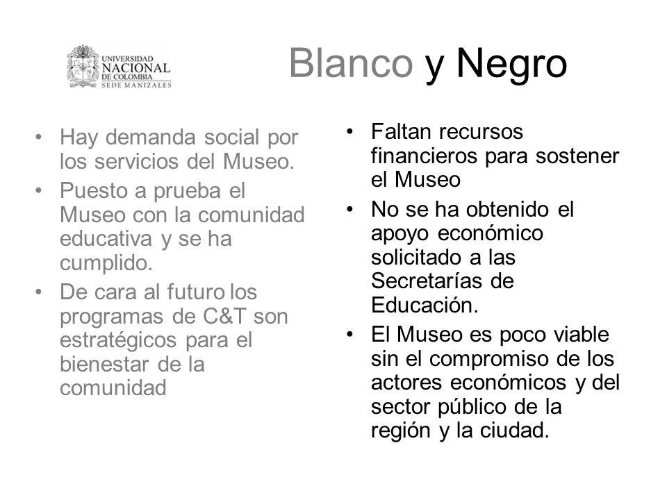 Blanco y Negro Hay demanda social por los servicios del Museo. Puesto a prueba el Museo con la comunidad educativa y se ha cumplido. De cara al futuro