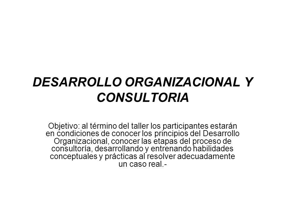 DESARROLLO ORGANIZACIONAL Y CONSULTORIA Objetivo: al término del taller los participantes estarán en condiciones de conocer los principios del Desarro