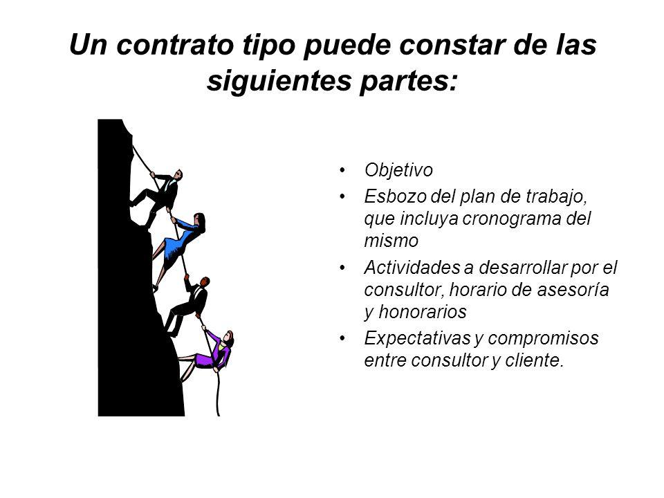 Un contrato tipo puede constar de las siguientes partes: Objetivo Esbozo del plan de trabajo, que incluya cronograma del mismo Actividades a desarroll
