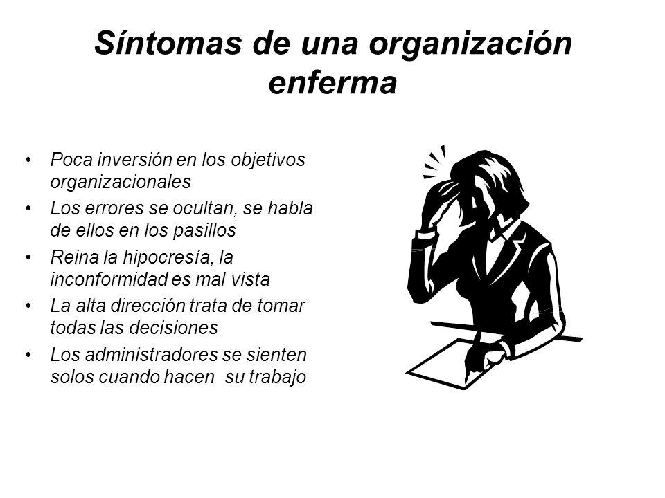 Síntomas de una organización enferma Poca inversión en los objetivos organizacionales Los errores se ocultan, se habla de ellos en los pasillos Reina