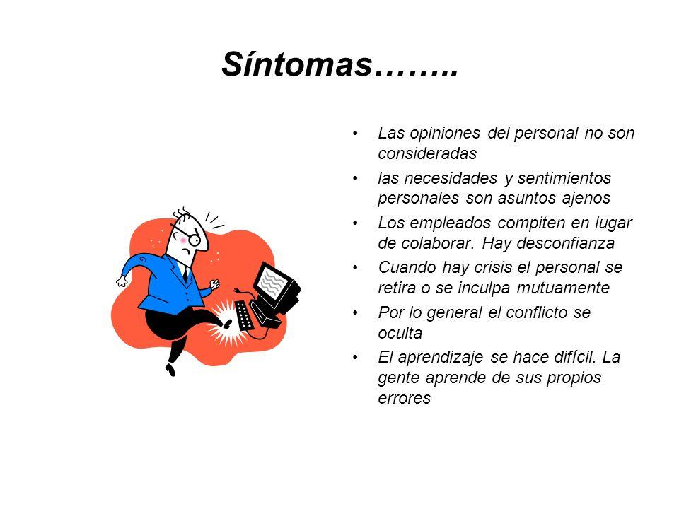 Síntomas…….. Las opiniones del personal no son consideradas las necesidades y sentimientos personales son asuntos ajenos Los empleados compiten en lug
