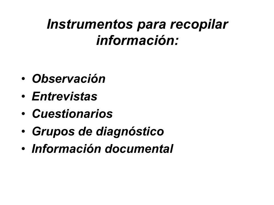Instrumentos para recopilar información: Observación Entrevistas Cuestionarios Grupos de diagnóstico Información documental