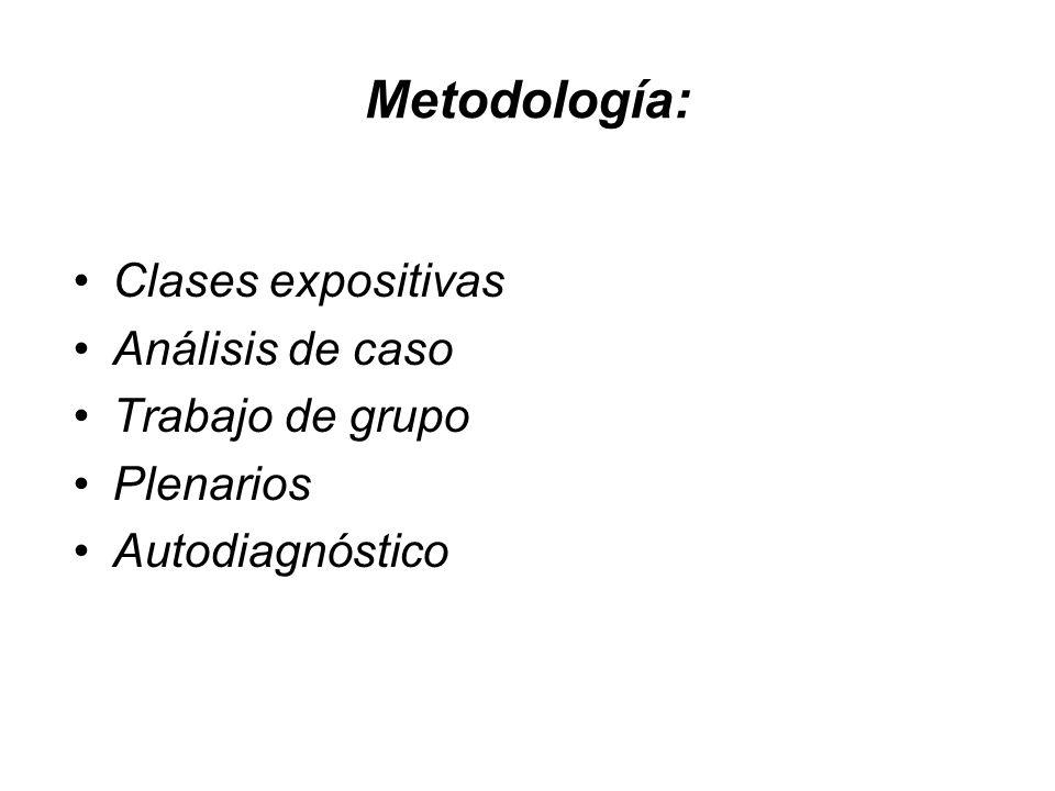 Metodología: Clases expositivas Análisis de caso Trabajo de grupo Plenarios Autodiagnóstico