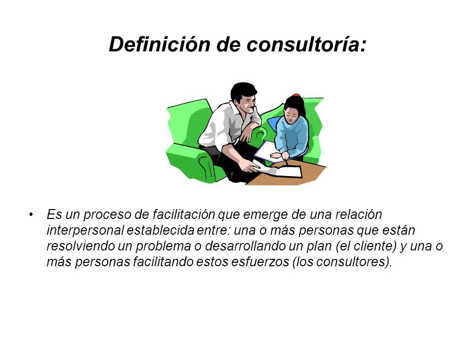 Definición de consultoría: Es un proceso de facilitación que emerge de una relación interpersonal establecida entre: una o más personas que están reso