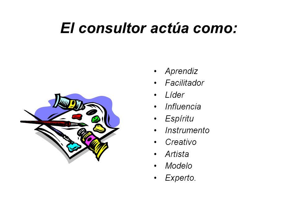 El consultor actúa como: Aprendiz Facilitador Líder Influencia Espíritu Instrumento Creativo Artista Modelo Experto.