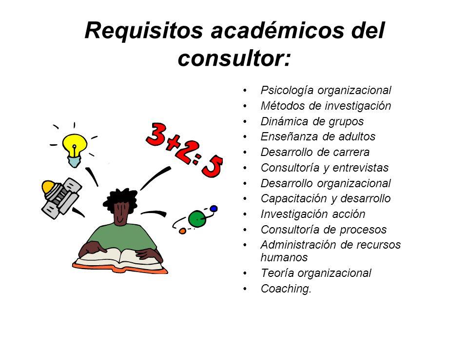 Requisitos académicos del consultor: Psicología organizacional Métodos de investigación Dinámica de grupos Enseñanza de adultos Desarrollo de carrera