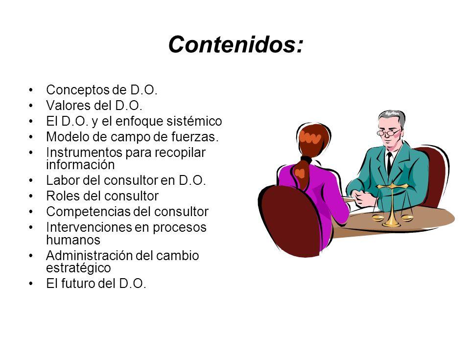 Contenidos: Conceptos de D.O. Valores del D.O. El D.O. y el enfoque sistémico Modelo de campo de fuerzas. Instrumentos para recopilar información Labo