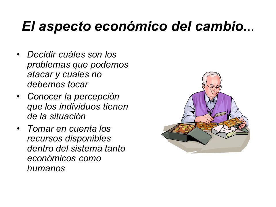 El aspecto económico del cambio... Decidir cuáles son los problemas que podemos atacar y cuales no debemos tocar Conocer la percepción que los individ