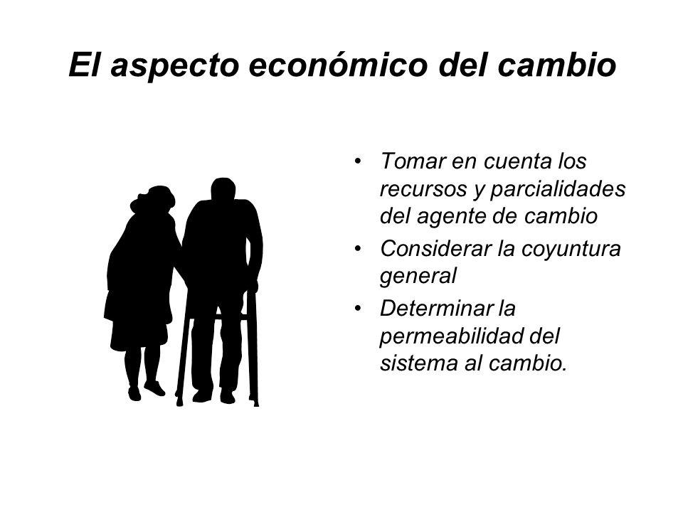 El aspecto económico del cambio Tomar en cuenta los recursos y parcialidades del agente de cambio Considerar la coyuntura general Determinar la permea