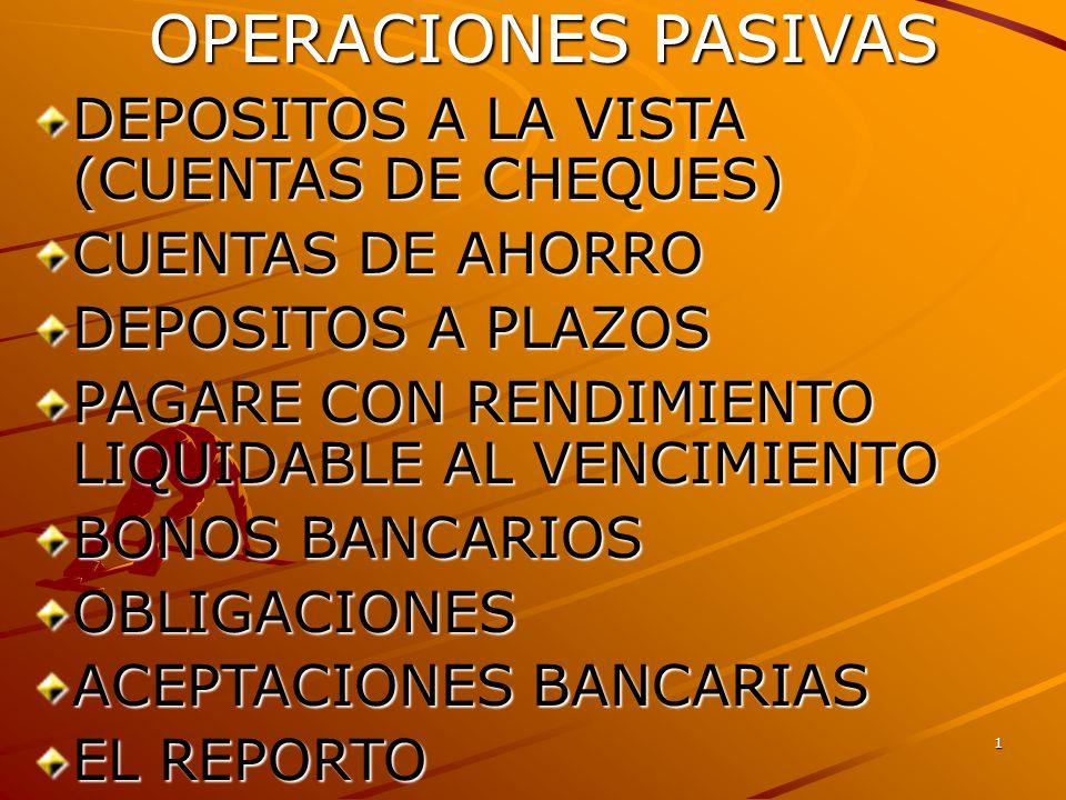 2 DEPOSITOS A LA VISTA (CUENTAS DE CHEQUES) SON DEPOSITOS DE DINERO EFECTUADOS A TRAVES DE UNA CUENTA DE CHEQUES EL DINERO ES RETIRABLE: CHEQUES,TARJETA DE DEBITO, DISPOSICION EN VENTANILLA,TRANSFEREN- CIA BANCARIA CHEQUES,TARJETA DE DEBITO, DISPOSICION EN VENTANILLA,TRANSFEREN- CIA BANCARIA