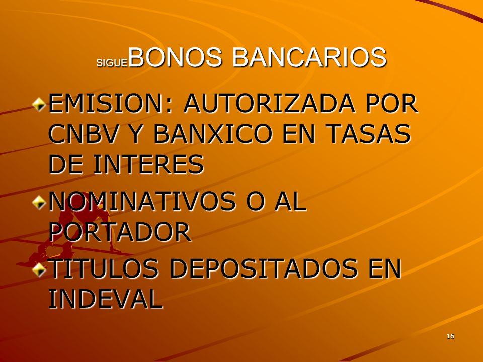16 SIGUE BONOS BANCARIOS EMISION: AUTORIZADA POR CNBV Y BANXICO EN TASAS DE INTERES NOMINATIVOS O AL PORTADOR TITULOS DEPOSITADOS EN INDEVAL