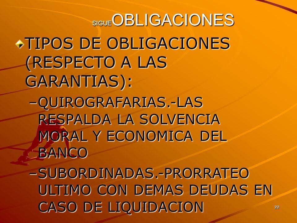 22 SIGUE OBLIGACIONES TIPOS DE OBLIGACIONES (RESPECTO A LAS GARANTIAS): –QUIROGRAFARIAS.-LAS RESPALDA LA SOLVENCIA MORAL Y ECONOMICA DEL BANCO –SUBORD