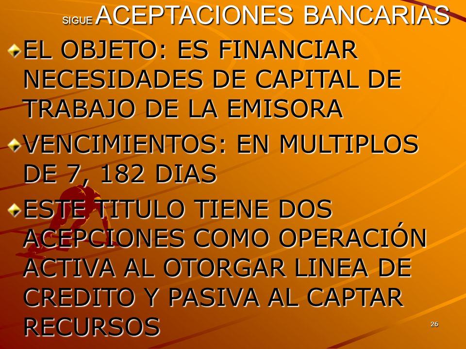 26 SIGUE ACEPTACIONES BANCARIAS EL OBJETO: ES FINANCIAR NECESIDADES DE CAPITAL DE TRABAJO DE LA EMISORA VENCIMIENTOS: EN MULTIPLOS DE 7, 182 DIAS ESTE