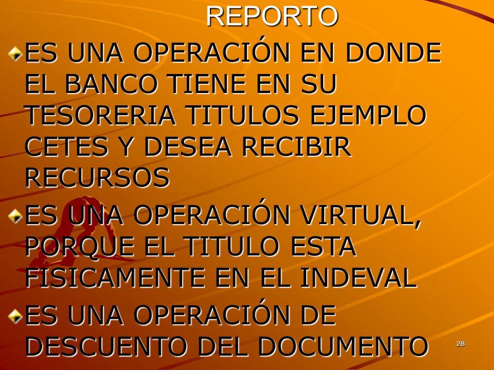 28 REPORTO ES UNA OPERACIÓN EN DONDE EL BANCO TIENE EN SU TESORERIA TITULOS EJEMPLO CETES Y DESEA RECIBIR RECURSOS ES UNA OPERACIÓN VIRTUAL, PORQUE EL