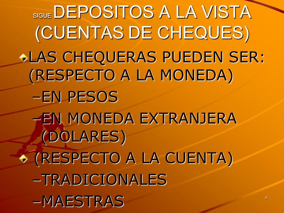 4 SIGUE DEPOSITOS A LA VISTA (CUENTAS DE CHEQUES) APERTURA DE $2,000 a $5,000 MONTO MINIMO $500 A $2000 ACCESO A INTERNET,PAGO DE SERVICIOS, IMPUESTOS, TRANSFERENCIAS ELECTRONICAS PROPIAS, DE TERCEROS,OPERACIONES INTERBANCARIAS