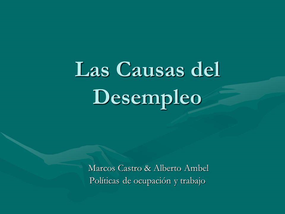 Las Causas del Desempleo Marcos Castro & Alberto Ambel Marcos Castro & Alberto Ambel Políticas de ocupación y trabajo