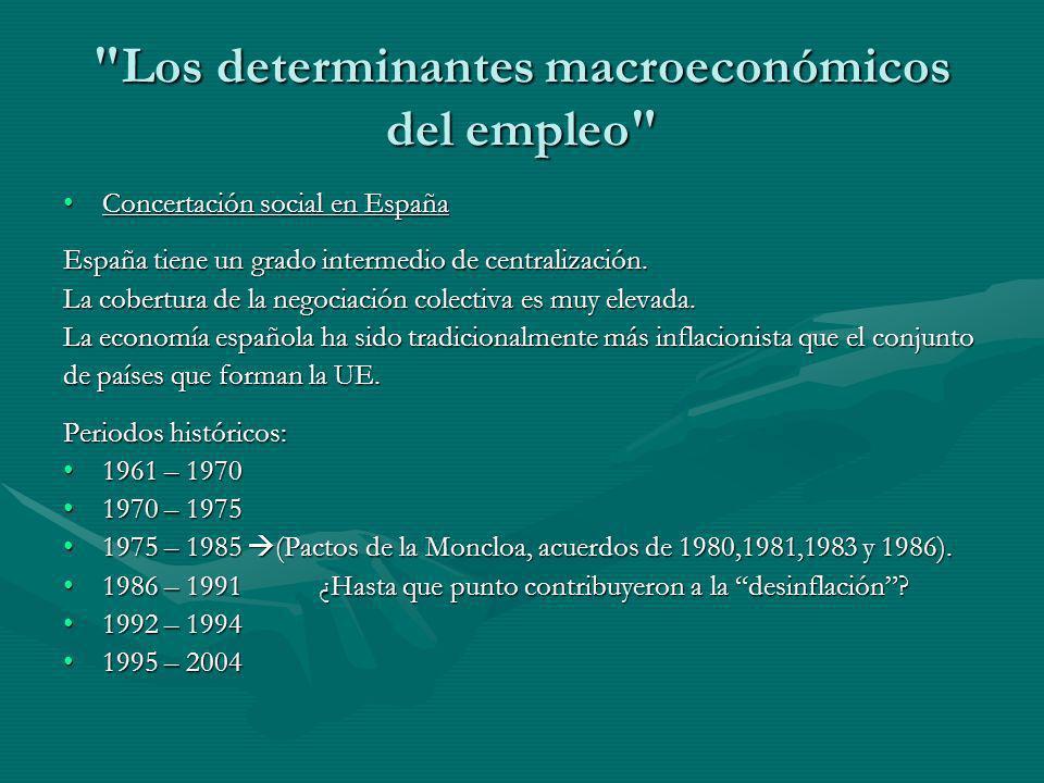 Los determinantes macroeconómicos del empleo Concertación social en EspañaConcertación social en España España tiene un grado intermedio de centralización.