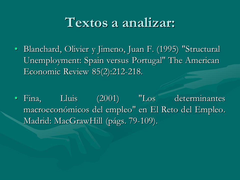 Textos a analizar: Blanchard, Olivier y Jimeno, Juan F.